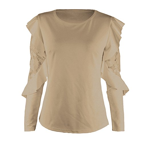 MCYs Damen Spitzen Bluse Shirt Loose T-Shirts Lace Langarm Oberteil Tops Tunika Feste Hülsen Nähende Oansatz T-Shirt Pullover-Oberseiten-Bluse (S, Khaki) -