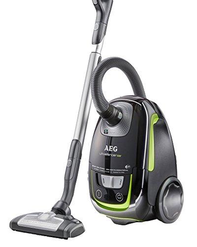 AEG UltraSilencer Öko USGREEN+ Staubsauger mit Beutel EEK A (700 Watt, 3 Düsen, waschbarer Hygiene Filter E12) schwarz/grün