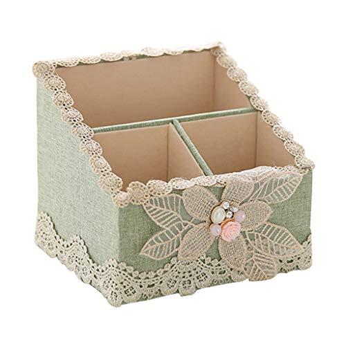 Make-Up Taschen & Etuis Kosmetische Aufbewahrungsbox Stoff Wohnzimmer Desktop Aufbewahrungsbox Kosmetische Schminktisch Box Einfache Haushalt Finishing Box (Color : Green, Size : 14.5 * 13 * 13cm)