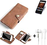 K-S-Trade® Schutzhülle für Allview X4 Soul Mini S Hülle Tasche Handyhülle Handytasche Wallet Flipcase Cover Handy Tasche Kunsteleder Braun Inkl. in Ear Headphones