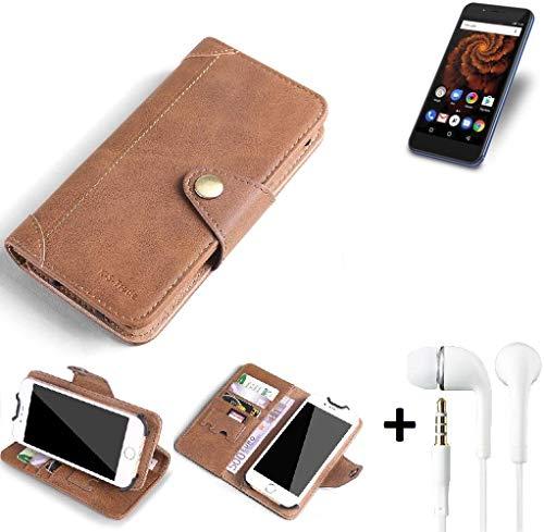 K-S-Trade® Schutzhülle für Allview X4 Soul Mini S Hülle Tasche Handyhülle Handytasche Wallet Flipcase Cover Handy Tasche Kunsteleder Braun Inkl. in Ear Headphones