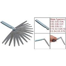 Sonline Calibre Fijo Galga de Espesores Metal Plateado Cuchillas 0.02-1mm Herramienta