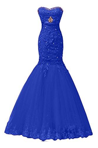 Sunvary Elegant Neu Herzform Meerjungfrau Spitze Satin Tuell Lang Steine Abendkleid Ballkleider Royalblau