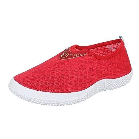 Damen Schuhe, AD-610, HALBSCHUHE, SLIPPER FREIZEITSCHUHE, Synthetik , Rot, Gr 37
