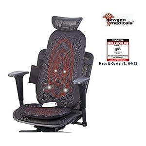 newgen medicals Massagesitzauflage: Shiatsu-Sitzauflage für Rückenmassage, mit IR-Tiefenwärme & Vibration (Massageauflage)