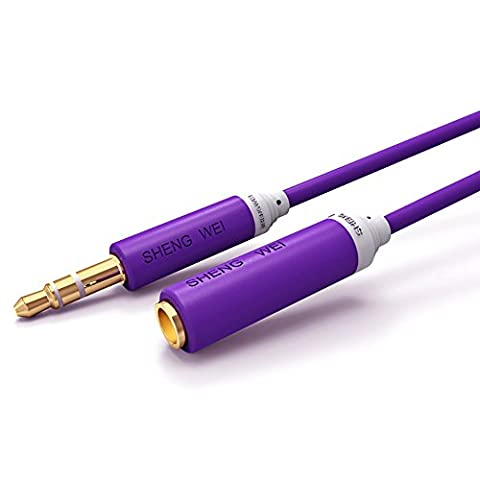 Shengwei 2M Purple Premium Audio Cable 3.5mm Male to Female Stereo Aux Gold Platerd-Cable