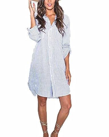 Auxo Women's Casual V Neck Button Stripe Long Sleeve Irregular