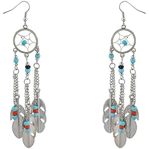 Lux accessori Boho perline turchese Dream Catcher Dangle Earrings