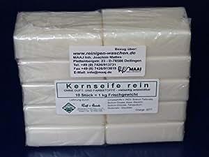 Wasserrose® 10x100g=1kg KERNSEIFE SEIFE REIN OHNE DUFT OHNE FARBSTOFFE MADE IN GERMANY-EDTA-frei