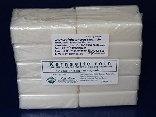 Wasserrose® 10x100g=1kg KERNSEIFE SEIFE REIN OHNE DUFT OHNE FARBSTOFFE MADE IN GERMANY-EDTA-frei