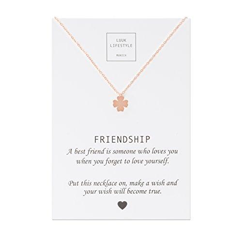 LUUK LIFESTYLE Damen Schmuck, Halskette mit Kleeblatt Anhänger und Friendship Spruchkarte, Glücksbringer, rosé