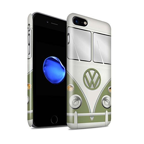 STUFF4 Glanz Snap-On Hülle / Case für Apple iPhone 7 / Maus Grau Muster / Retro T1 Wohnmobil Bus Kollektion Mango Grün