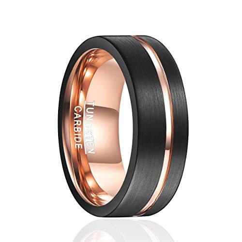Nuncad Ring Wolfram Unisex schwarz/Rosegold 8mm, Aufarbeitung durch Mattierung und rosegoldenem Einschnitt, perfekt für Hochzeit, Verlobung und Veranstaltung, Größe 63 (20.1)