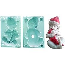 Molde de silicona para uso Artesanal Niño Bebé Con Gorro de Papá Noel Navidad Fai Da Te