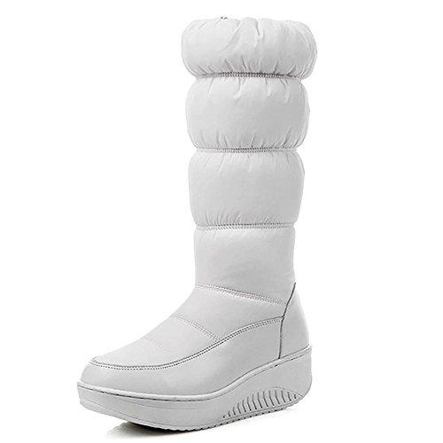 SHANGXIAN Stivaletti da neve donna Stivali da ginnastica Stivaletti impermeabili rivestiti con suola antiscivolo , meters white , 35