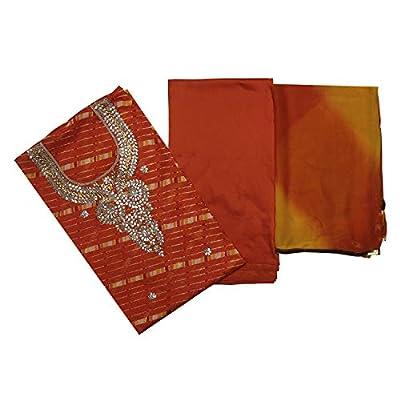 Banhi Women's Leheriya Print with Heavy Gota Work on Kotadoriya Unstitched Salwar Suit Dress Material - Orange & Yellow