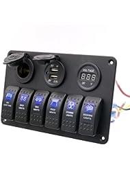 Rocker Interruptor, Hansee IP686Gang impermeable coche Auto Barco marino LED Rocker Switch panel disyuntores
