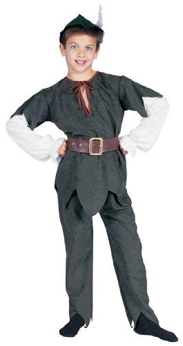 Hood Diebes-Verkleidung Bogenschützen Rächer König der Armen Kinder-Kostüm Grün Feder Waldläufer Fasching Karneval Halloween