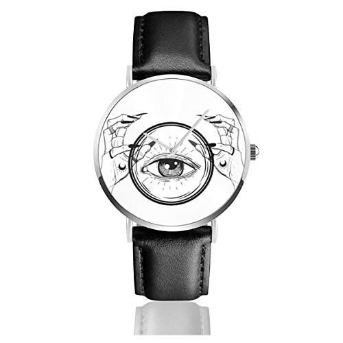 Business Analog Watches,Witch Hands with Black Nails, Rings,Classic Stainless Steel Quartz Waterproof Wrist Watch with Leather Strap