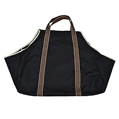 "BeGrit Canvas Log Bag Heavy Duty Wood Carrier Carrying Tote for Indoor Fireplace Firewood Storage Bag Black 27""x12""x12"""