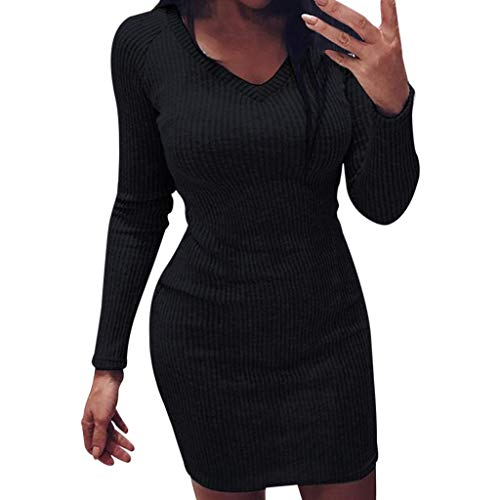 Rugby-damen Kleid (Damen Sommer Damen Volltonfarbe Kleid Mode Volltonfarbe Strickpullover Kleid Damen Sommer Volltonfarbe V-Ausschnitt Langarm Fit Minikleid Herbst und Winter Mode Sexy Skinny Mini Strickpullover Kleid)