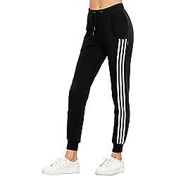 Damen Sweatpants Hüfthose Lässige High Waist Sweathose Casual Seite Streifen Pants Jogginghose Lange Röhrenhosen Trainingshose Hosen Sporthosen