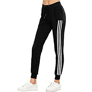 Freestyle Damen Sweatpants Hüfthose Lässige High Waist Sweathose Casual Seite Streifen Pants Jogginghose Lange Röhrenhosen Trainingshose Hosen Sporthosen