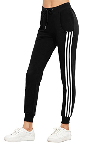Moceal Damen Jogginghose Verstellbarer Gummizug Stretch Trainingsanzug Trainingshose Fitnesshose Schlafanzug-Hose Fitness Joggen Röhrenhosen Trainingshose Hosen Sporthosen (XS, Schwarz)