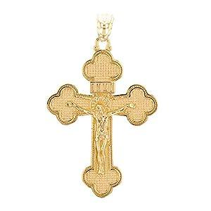 14 Karat Gelbgold Eastern Orthodox Kruzifix Kreuz Damen Anhänger