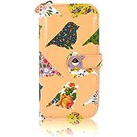 Peach-Tela cerata con motivo floreale rosa stile Vintage Birds-Borsetta da donna