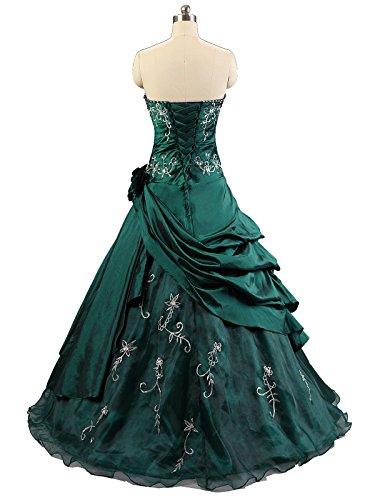 Kmformals Damen Ballkleid trägerlosen Prom Kleider Abendkleidung Grün