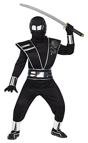 Jungen Schwarz oder Weiß Deluxe Spiegel Ninja Kostüm Halloween Outfit (6-8 Jahre), (Spiegel Halloween Kostüm)