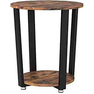 VASAGLE Side Table, Industrial Coffee Table, Round Sofa Table With Iron Frame, for Living Room, Bedroom, Stable and Simple Construction, Rustic Brown LET57X