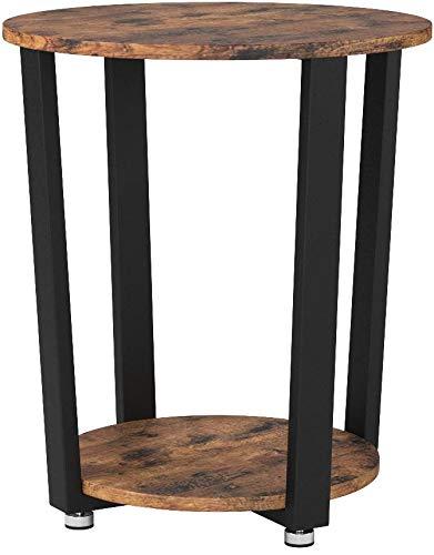 VASAGLE Table Ronde Vintage, Table d'appoint, Armature en Fer, pour Salon, Chambre, Stable, Aspect Texture du Bois LET57X