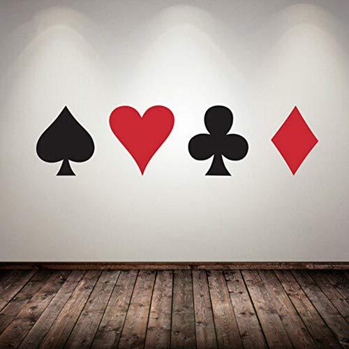 JXAA Poker Aufkleber Pro Karten Spade Club Herz Diamant Wandaufkleber Anzug Spielen Spielzimmer Nacht Keller Casino Dealer Deal Bet King Single 25cmx20cm