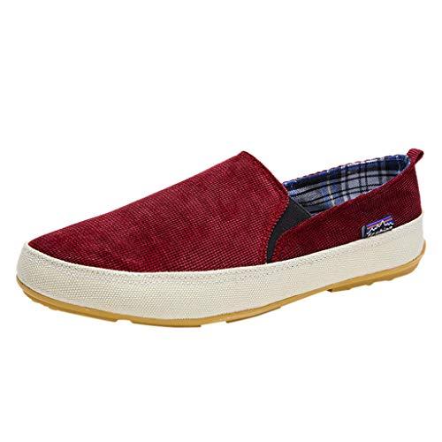 d452910c21 Sunnywill Men's Scarpe di tela piatte traspiranti da uomo Indossare scarpe  antiscivolo Moda casual Scarpe leggere di peso rosso, verde, blu, marrone
