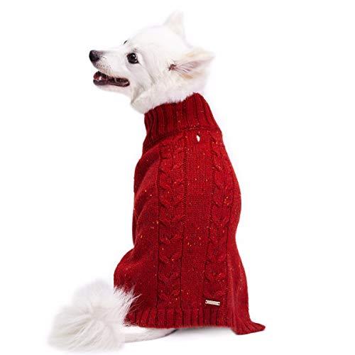 Blueberry Pet Tweed Woll-Mischung Zopfmuster Strickpullover Rollkragen Hundepulli in Ziegelrot, Rückenlänge 46cm, Einzelpackung Bekleidung für Hunde -