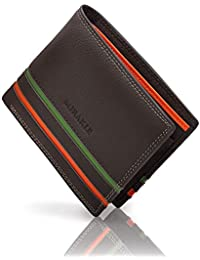 Mirakle Carteras Hombre, Cartera RFID Piel Hombre para 9 Tarjetas, 2 Compartimentos para Billeteras, 1 Bolsillo para Monedas, Cartera Delgada Hombre con Rayas Naranja y Verde de Moda, Marrón Oscuro