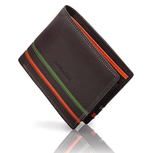 Mirakle Portefeuille Homme Cuir Véritable avec RFID Blocage 9 Carte Crédit, 2 Compartiment à Billets, Grande Poche à Monnaie, Porte Monnaie Porte Feuille avec Rayures élégantes Orange et Vert, Marron