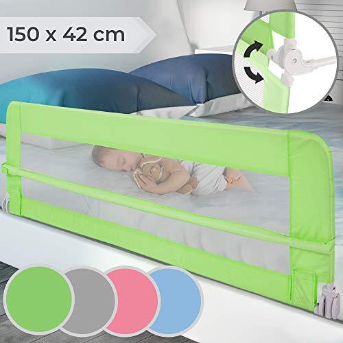 Bettgitter klappbar | Farbwahl, Größe: 150/42cm, einfache Montage, passend für Kinderbetten, Elternbetten | Bettschutzgitter, Kinderbettgitter, Babybettgitter, Gitter, Rausfallschutz (Grün) -