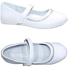 Scarpe Ballerine Bimba Bambina Comunione Cerimonia Battesimo Eleganti  Bianco (calzano Piccole) BY-7 7b7036a4306