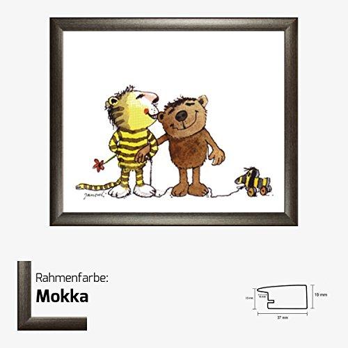 Kunstdruck Janosch - Tiger Bär 48 x 58 cm mit MDF-Bilderrahmen Pisa & Acrylglas reflexfrei, viele Farben zur Auswahl, hier Mokka (Mokka-tiger Print)
