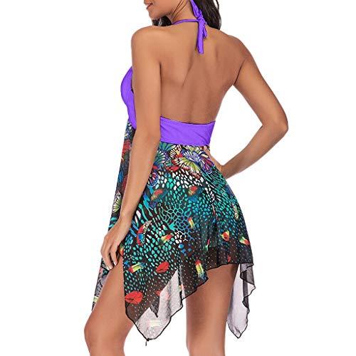 IFOUNDYOU Damen Großer Badeanzug,Frau Fei Po Großen Größen Druck Sexy Split Badeanzug Damenbadebekleidung Zweiteiliger Druck Bad Asymmetrischer Badeanzug