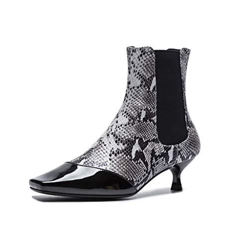 Hrn stivaletti da donna in pelle testa quadrata con stivaletti a spillo set di scarpe da incantesimo modello piede pitone autunno e inverno nuovi,b,39eu