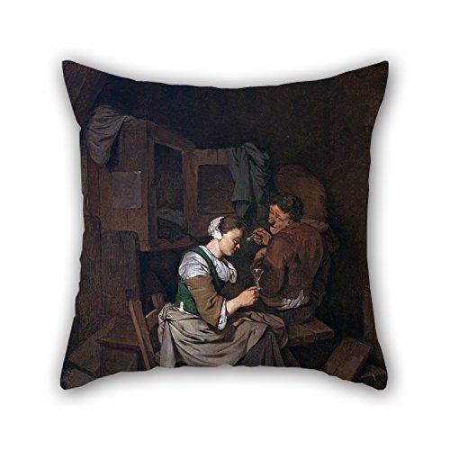 Kissenbezug von Oil Painting Cornelis Bega–Frau mit Glas Alkohol und zwei Stecker Bauern 45,7x 45,7cm/45von 45cm, beste Passform für Sofa, pub, Mann, Schlafzimmer, Outdoor, Zeichnen zweimal