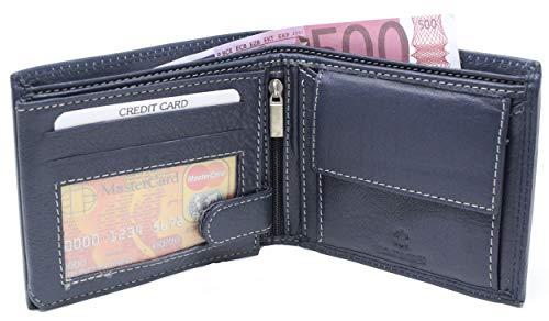 Portefeuille Anti-RFID - Portefeuille Cuir de Vachette - Facile à Glisser dans la Poche - Porte Monnaie Porte Cartes très Complet