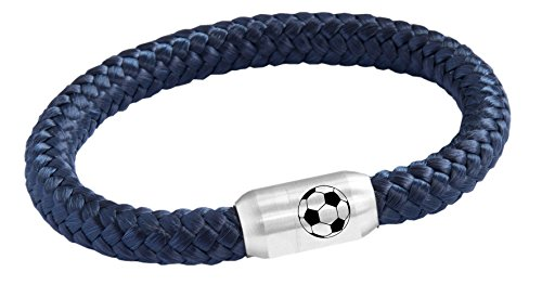 WM Fußball Bundesliga Segeltau Fan Armband Magnetverschluss Verschiedene Farben Größen Gravur (Marine Blau, 21) -