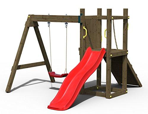 Fungoo Spielturm Dexter mit Einzelschaukel und roter Rutsche 175,03870