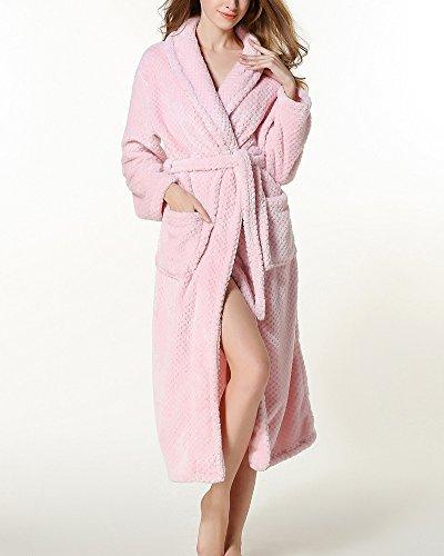 Unisex Adulto Luxury Accappatoio Vestaglia con Cintura Super Soft Dressing Robe Abiti Pink