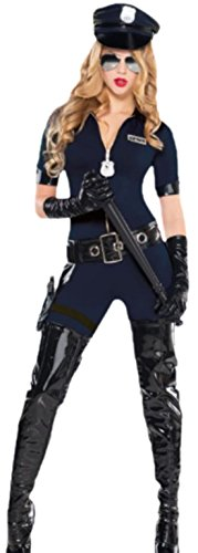 erdbeerloft - Damen Polizistin Kostüm, Uniform, Kostümset, Fasching, Karneval, 36, Blau